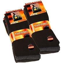 6 pares de calcetines térmicos de tejido de rizo completo, color negro, antracita y