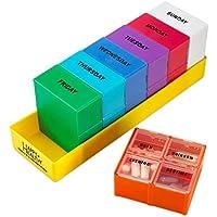 Preisvergleich für Herausnehmbare Wöchentliche Pillendose von MEDca, mit 4 Abschnitten, Morgens, Mittags, Abends und Nachts
