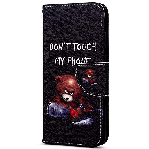 EUWLY Kompatibel mit Sony Xperia XZ1 Handyhülle Bunt Leder Hülle Brieftasche Ledertasche Klapphülle Handy Tasche Flip Case mit Kartenfächer Magnet,Niedlich Karikatur Bär - Handy Niedlich