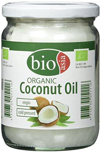 BIOASIA Bio Kokosöl, kaltgepresst, naturbelassen ohne Zusatzstoffe, veganes Fett zum Kochen, Braten & Backen, auch als Naturkosmetik verwendbar, 100 % Bio, 500 ml -