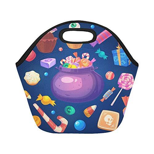 Isolierte Neopren-Lunch-Tasche Happy Halloween Set Bunte Halloween-Süßigkeiten Große wiederverwendbare thermische dicke Lunch-Tragetaschen Für Brotdosen Für draußen, Arbeit, Büro, Schule