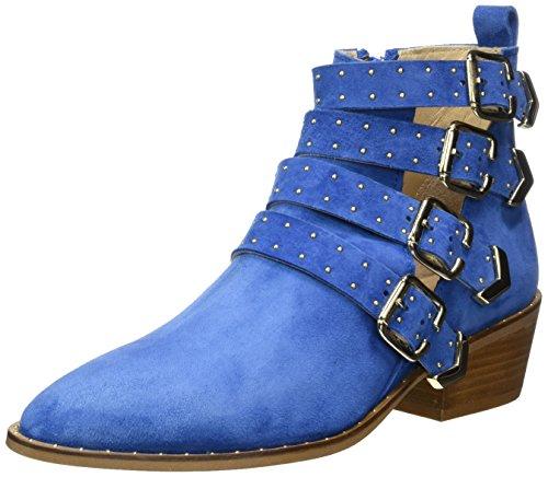 GARDENIA COPENHAGEN Boot with Straps, Sandali con Zeppa Donna Blu (Suede Jeans)