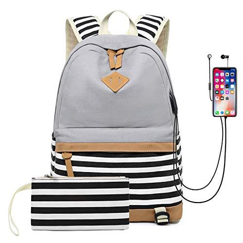 Cassiecy Mädchen Schulrucksack Canvas Stripe Teenager Daypacks Laptop Rucksack für Schule und Freizeit 2-In-1 Kinder Schulrucksack mit USB Lade Port (Grau)