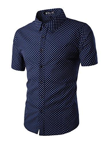 uxcell Allegra K Hombres de manga corta lunares allover print algodón botón abajo camisa - Azul -