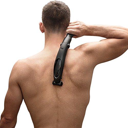 Ceramics Herren Körperrasierer als elektrischer Männer Rückenrasierer und Elektrorasierer für den ganzen Körper - Konvexe Halterung als biegsame klappbare kabellose Arm-Verlängerung für optimale Rasierergebnisse