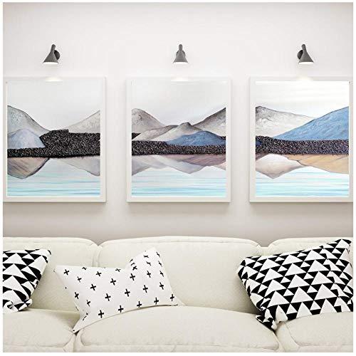 qiaoaoa 3 Stücke Nordic Dekoration Moderne Berg Wasser Haus Wandkunst Poster und Druck Leinwand Malerei öl 50x70 cm x 3 Kein Rahmen -
