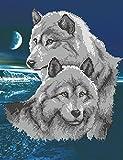 Knyaginya Olga Stickbild mit Perlen komplette Stickpackung Wölfe Tiere 31x40 Stickset Stickerei Set Handarbeit Stickvor