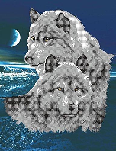 Stickbild mit Perlen komplette Stickpackung Wölfe Tiere 31x40 Stickset Stickerei Set Handarbeit Stickvorlage vorgedruckt vorgezeichnet Bild zum selber sticken