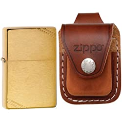 Zippo 240 Vintage Series 1937 Brushed Brass Slashed Windproof Pocket Lighter with Zippo Brown Leather Loop Pouch