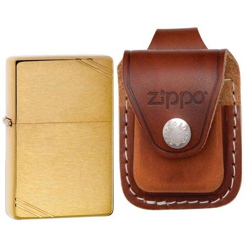 Zippo 240 Serie Vintage 1937 Messing gebürstet besuchen winddicht Tasche mit Zippo Feuerzeug Loop Leder Tasche Braun Serie Ledertasche