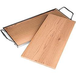Rustler Räucherbretter aus 100% originalem kanadischen Zedernholz | 2er Set | Grillbretter mit Serviergestell aus rostfreiem Edelstahl für ein besonderes Grillaroma | Zedernholzbrett