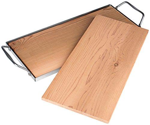Rustler Tavolette Legno per Grigliare / Set da 2 Tavolette per Planking con Vassoio Acciaio Inox Inossidabile 36 x 15 x 35