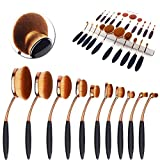 CDC® Golden Black Oval 10PCs Pro Cosmetic Makeup Face Powder Blusher, Toothbrush Curve Liquid Foundation Blending Brush, Powder Cream Concealer Cosmetic Tools-Makeup Kit