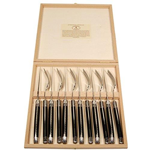 Kom Amsterdam 7024 6 Steakmesser und 6 Gabel in Kiste laguiole, schwarz - Messer Steaks