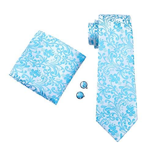 Hellblau Silber Paisley zweifarbig Seide Krawatte Set Binder Schlips Hochzeit Einstecktuch Manschettenknöpfe Krawattenset (Silber / Hellblau (165))