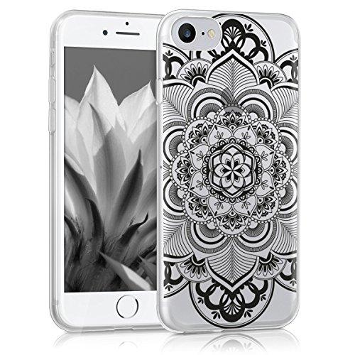 kwmobile Hülle für Apple iPhone 7 / 8 - TPU Silikon Backcover Case Handy Schutzhülle - Cover Metallic Rosegold Blütentraum IMD Schwarz Transparent