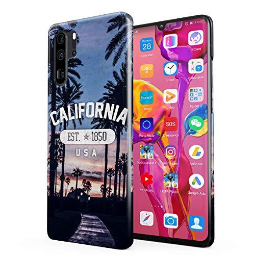 California Palme USA Paradise Strand Chill Good Vibes Dünne Rückschale aus Hartplastik für Huawei P30 Pro Handy Hülle Schutzhülle Slim Fit Case Cover