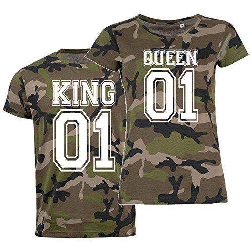 T-Shirt-Set KING oder QUEEN Partner-Shirts CAMO- Aufdruck vorne Damen + Herren