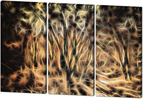 Im Wald, Light Effect, schönes und hochwertiges Leinwandbild zum Aufhängen in XXL - 3 Teiler mit 120cm x 80cm, echter Holzrahmen, effektiver Pigmentdruck, modernes Design für Ihr Büro oder - Im Bananen-kostüm Mann