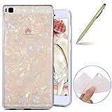 Herbests Huawei P8 Handyhülle Glitzer Glitter Luxus Bling Glänzend 3D Geometrisches Transparent TPU Silikon Schutz Handy Hülle Handytasche Silikon Case Durchsichtig Tasche,Bunt