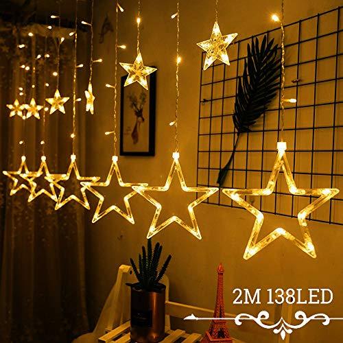 Avoalre Lichtervorhang 12 Sterne 2M Lichterkette 138LEDs Lichter Ketten (max. 13 Sätze) Ausdehnbar mit 8 Modi Weihnachtsbeleuchtung im Innen/Außen