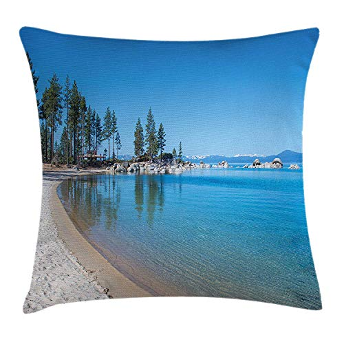 MSGDF Lake Tahoe Throw Pillow Cushion Cover, Clear Water in Shore of Lake Tahoe Idyllic Calming Scene, Decorative Square Accent Pillow Case, 18 X 18 inches, Azure Blue Coconut Forest Green