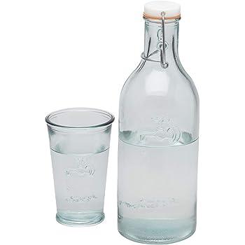 drinkitnow wasserkaraffe 1 liter glas floral gr n nussbaum. Black Bedroom Furniture Sets. Home Design Ideas