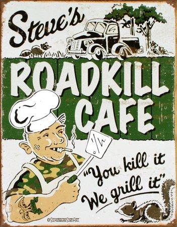 Cartel Metálico Anuncio Vintage Roadkill Cafe 30x42cm Crema