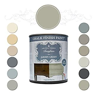 Amitha Verma Chalk Finish Paint, No Prep, One Coat, Fast Drying | DIY Makeover for Cabinets, Furniture & More, 1 Quart, (Jardin Green) by Amitha Verma