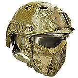 Zywtrade Casco tattico per Esterno Casco Rigido per Casco e elmetto in ABS per Fucili ad Aria compressa, Paintball, Caccia e tiro a Segno,A3