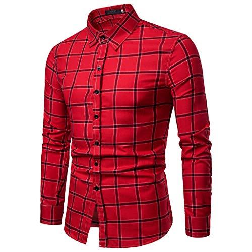 Herren Mode Kariertes T-Shirt Blatt Langarmshirts Lässig Offene Hemden