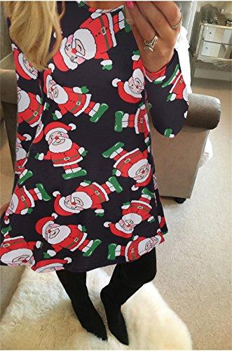 Honghu Manches Longues Noël Robes Femme,Santa Impression Dress de Swing Party de Noël Automne-hiver Noir 1