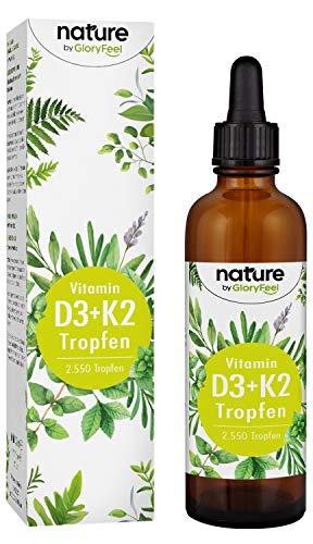 Vitamin D3 + K2 Tropfen 75ml - Premium VitaMK7 von Gnosis® 99,7% All Trans + Vitamin D3 (1000 IE) - 2550 Tropfen besonders bioverfügbar und stabil - Laborgeprüfte Hergestellung in Deutschland