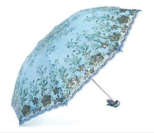 Regenschirm Winddicht Spitze Sonnenschirm Sonnencreme UV Sonnenschirm Doppel Taschenschirm Regenschirm Mädchen Prinzessin Regenschirm Dual-Use (Farbe : E)