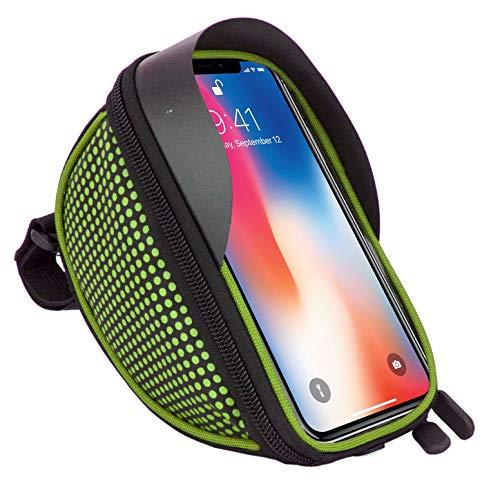 Fahrradtasche Fahrradtasche Fahrrad Lenker Rahmen Universal Touchscreen Halterung für Sony Xz2, XZ1, XA2, XZ2 Compact, XA1, XZ1 Compact, L1, XA1 Plus, XZs, L2 Smartphone mit Aufbewahrungstasche Grün