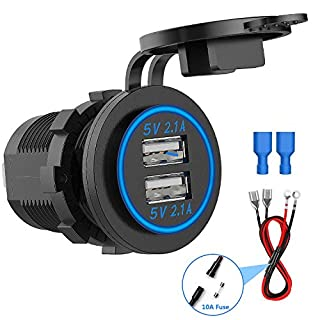 CHGeek Dual USB Socket Charger, Dual 5V/4.2A USB Car Charger IP66 Waterproof Power Outlet for 12V/24V Car, boats and marine, motorcycle, truck, SUV, UTV