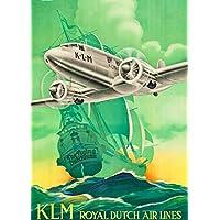 Vintage Travel Holland con riproduzione Klm dell' olandese volante 250gsm lucido carta di arte A3poster