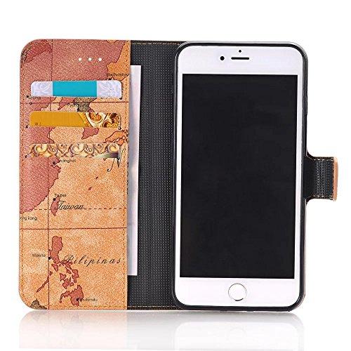 JIALUN-Telefon Fall Mit Kartensteckplatz, Magnetschließe, Kartenmuster flach öffnen die Telefonschale für Apple IPhone 7 Plus ( Color : 3 , Size : IPhone7 Plus ) 3