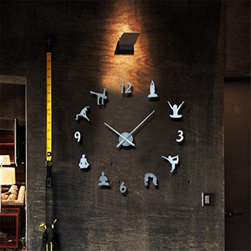 DIY Modern Stumm Groß Wanduhr 3D Aufkleber Große Uhr Zum Zuhause Wohnzimmer Entfernbar Dekoration Yoga Stil,Metallic