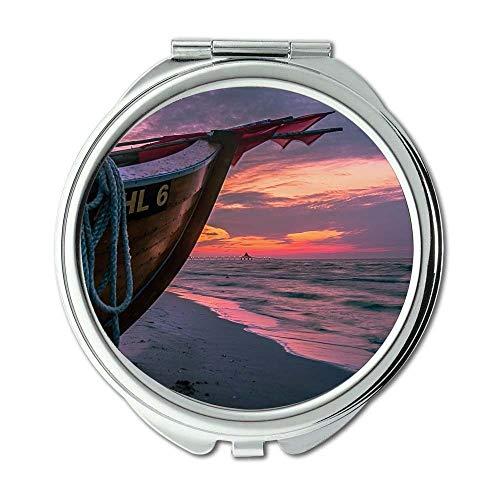 Yanteng Spiegel, Schminkspiegel, Strandboot Wolken, Taschenspiegel, tragbarer Spiegel