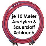 Acetylen Sauerstoff Gasschlauch Zwillingsschlauch 10 Meter - Profi Gummischlauch zum autogen schweißen oder schneiden - Semperit Profiqualität von Gase Dopp