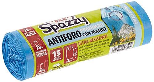 Domopak Spazzy- Sacchi Nettezza Ultre Resistenti, Pattumiera Media 52x54 cm (28 l) Profumo Brezza Alpina - 4 confezioni da 15 sacchi [60 sacchi]