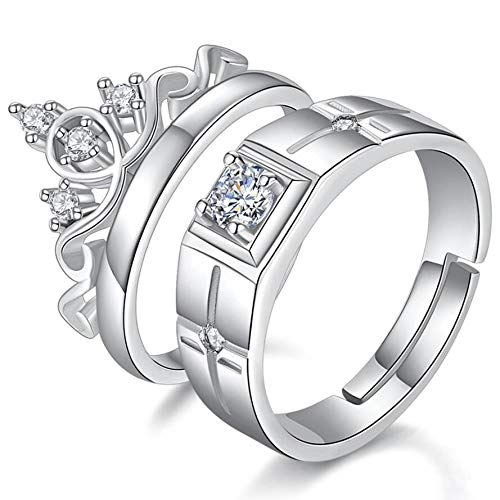 Via Mazzini Silver Plated His and Her Matching Adjustable Promise Couple Ring Set -2 Pieces
