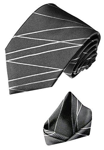 LORENZO CANA - Marken Set aus 100% Seide - Krawatte und Einstecktuch - Grau Dunkelgrau Hellgrau Linien - 8418701 (Fliege Linie Seide)