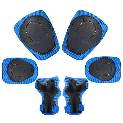 Dolami Set de protección/Juego de protecciones contra caídas niños con 2x Rodilleras,2x coderas,2x muñequeras para deportes de monopatín,patinete,longboard,patines sobre ruedas,scooter electric,Azul