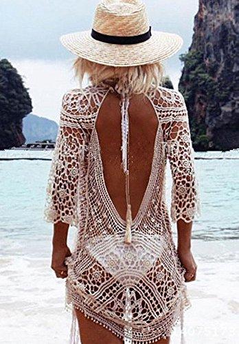 Walant Damen Spitze Bauwolle Strandkleid Chiffon Sommerkleider Bikini Cover Up Elegant Weiß-B