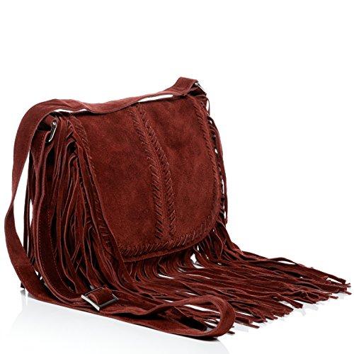 187fcc3a0e27b ... BACCINI Schultertasche SARAH - Umhängetasche klein - Damentasche mit  Fransen - echt Wildleder schwarz bordeauxrot ...