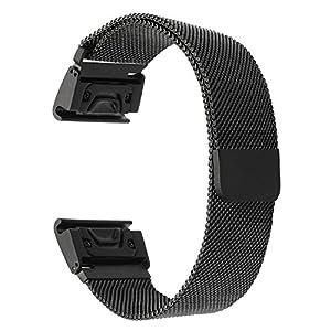TRUMiRR Für Garmin Fenix 5S Armband, 20mm Schnell Fit Milanese Loop Uhrenarmband Strong Magnetband Edelstahl Handgelenk Armband