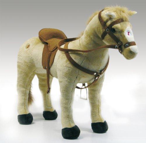 Happy People 58410 – Pferd mit 3-fach Sound, beige, stehend, Tragkraft ca. 100 kg - 2