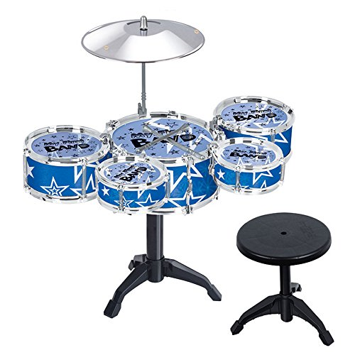 Beetest-Kinder Drum Set Musikinstrument Educational-Musik-Spielzeug Blau (Spielzeug Drum-set Für Kinder)